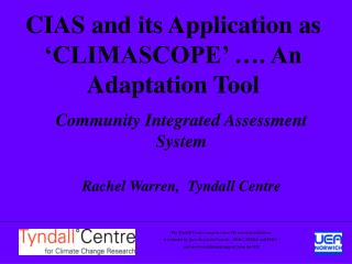 CIAS and its Application as 'CLIMASCOPE' …. An Adaptation Tool