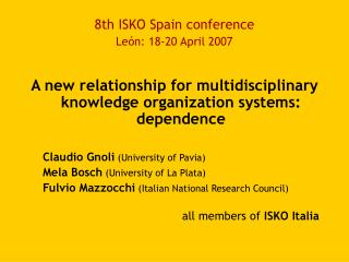 8th ISKO Spain conference León: 18-20 April 2007