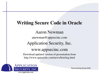 Writing Secure Code in Oracle