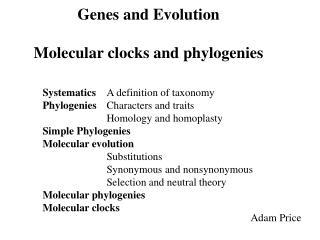Genes and Evolution Molecular clocks and phylogenies