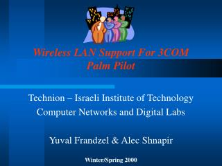 Wireless LAN Support For 3COM Palm Pilot