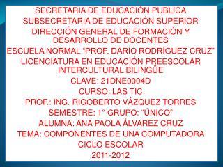 SECRETARIA DE EDUCACIÓN PUBLICA SUBSECRETARIA DE EDUCACIÓN SUPERIOR