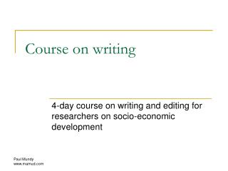 Course on writing