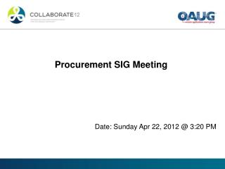 Procurement SIG Meeting