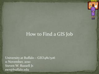 How to Find a GIS Job