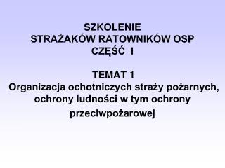 Podstawy Prawne Funkcjonowania OSP