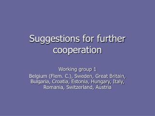 Suggestions for further cooperation