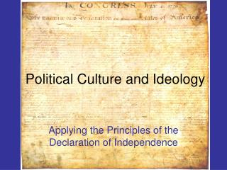 Political Culture and Ideology