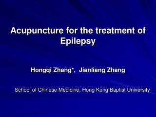Acupuncture for the t reatment of Epilepsy