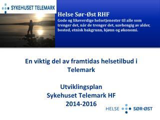 En viktig del av framtidas helsetilbud i Telemark Utviklingsplan Sykehuset Telemark HF 2014-2016