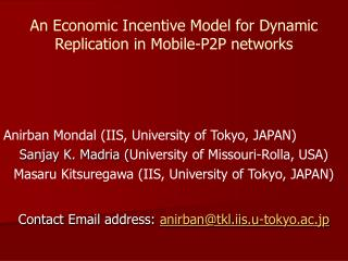 An Economic Incentive Model for Dynamic Replication in Mobile-P2P networks