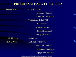 PROGRAMA PARA EL TALLER