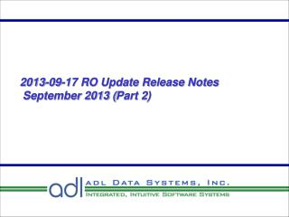 2013-09-17 RO Update Release Notes  September 2013 ( Part 2)