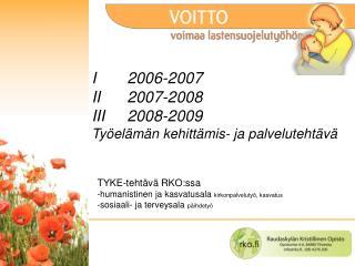 I  2006-2007 II 2007-2008 III2008-2009 Työelämän kehittämis- ja palvelutehtävä