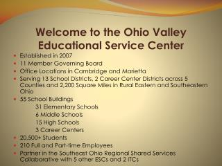 Welcome to the Ohio Valley Educational Service Center