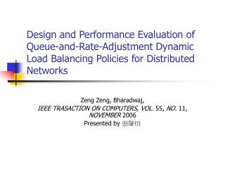 Zeng Zeng, Bharadwaj,  IEEE TRASACTION ON COMPUTERS, VOL.  55,  NO.  11,  NOVEMBER  2006