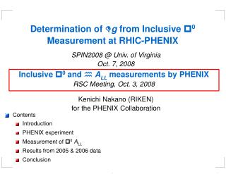 Determination of  D g  from Inclusive  p 0  Measurement at RHIC-PHENIX