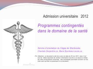 Admission universitaire   2012