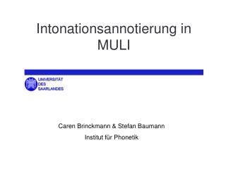 Intonationsannotierung in MULI