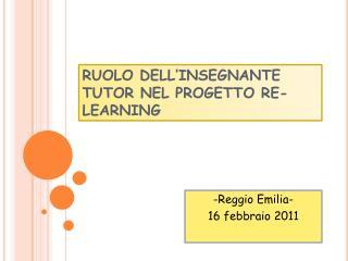 RUOLO DELL'INSEGNANTE TUTOR NEL PROGETTO RE-LEARNING