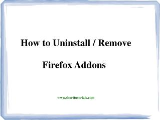 How to Delete Addons from Firefox - Shorttutorials
