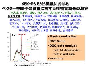 KEK-PS E325 実験における ベクター中間子の質量に対する核物質効果の測定