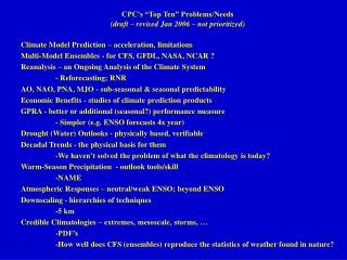 "CPC's ""Top Ten"" Problems/Needs (draft – revised Jan 2006 – not prioritized)"