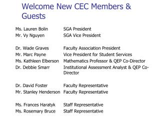 Welcome New CEC Members & Guests