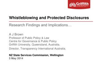 Whistleblowing and Protected Disclosures