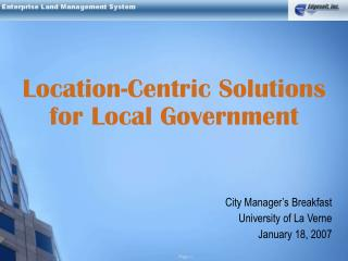 Location-Centric Solutions for Local Government