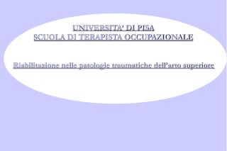 UNIVERSITA� DI PISA SCUOLA DI TERAPISTA OCCUPAZIONALE