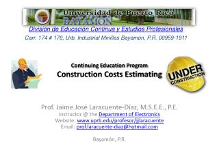 Continuing Education Program  Construction Costs Estimating