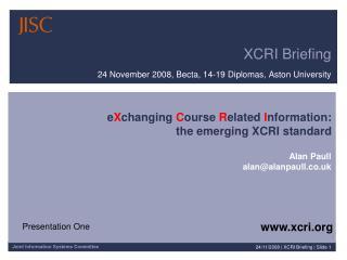XCRI Briefing