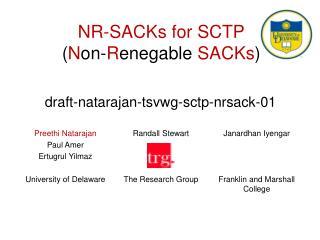 NR-SACKs for SCTP ( N on- R enegable  SACKs )