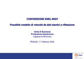 CONVENZIONE ENEL-INGV Possibile modello di velocità da dati sismici a riflessione