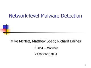 Network-level Malware Detection