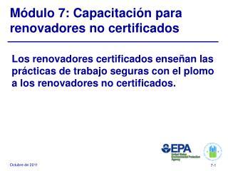 M�dulo 7: Capacitaci�n para renovadores no certificados