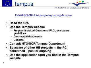 Good practice  in preparing an application