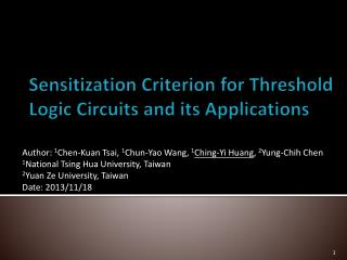Sensitization Criterion for Threshold Logic Circuits and its Applications