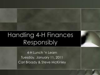 Handling 4-H Finances Responsibly