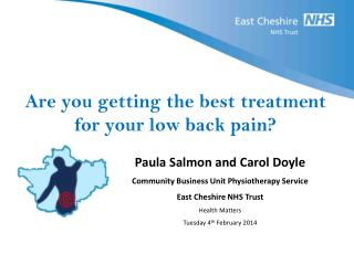 Are you getting the best treatment for your low back pain?