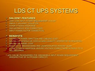LDS CT UPS SYSTEMS