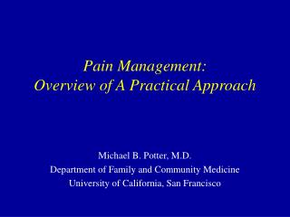 Pain Management: