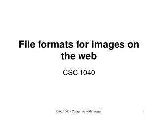 File formats for images on the web