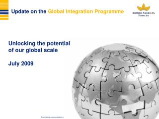 Update on the  Global Integration Programme