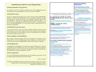 Propositions pour utiliser les cartes d'apprentissage : outil de programmation et de progression