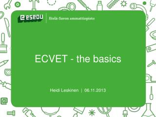 ECVET - the  basics