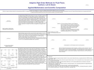 Adaptive High-Order Methods for Fluid Flows Authors: Lott  Deane Applied Mathematics and Scientific Computation