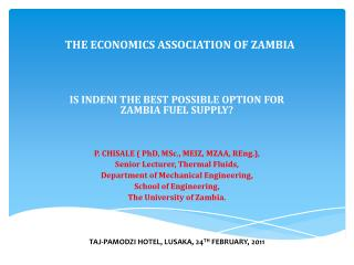 THE ECONOMICS ASSOCIATION OF ZAMBIA
