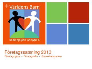 Företagssatsning 2013 Företagsgåva  - Företagsvän  -  Samarbetspartner